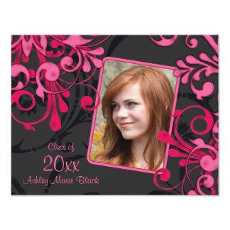Black Pink Floral Photo Template Graduation