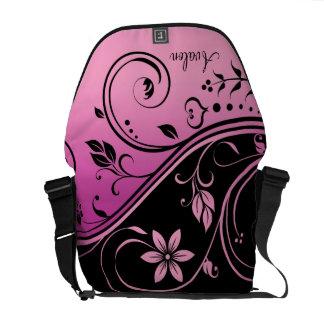 Black & Pink Floral Scroll Messenger Bag