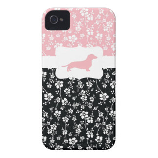 Black&Pink Floral w/Dachshund iPhone 4 Case