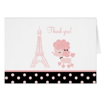 Black/Pink French Poodle Note Cards Thank you