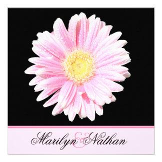 Black Pink Gerbera Wedding Invitation U K
