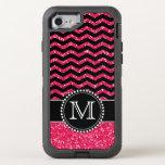 Black & Pink Glitter Chevron Monogrammed Defender Otterbox Defender Iphone 7 Case at Zazzle