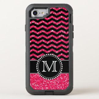 Black & Pink Glitter Chevron Monogrammed Defender OtterBox Defender iPhone 7 Case