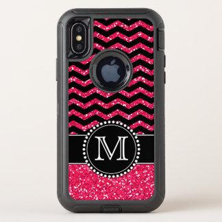 Black & Pink Glitter Chevron Monogrammed Defender OtterBox Defender iPhone X Case