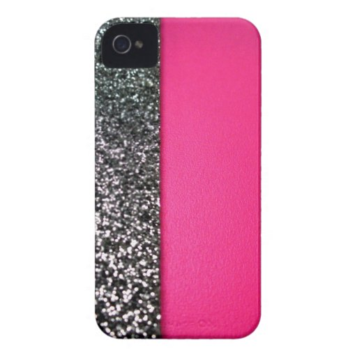 Black & pink glitter iphone cover Case-Mate iPhone 4 cases