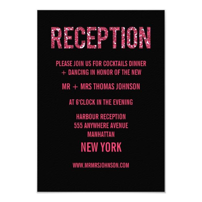 Black Pink Glitter Reception Enclosure Cards
