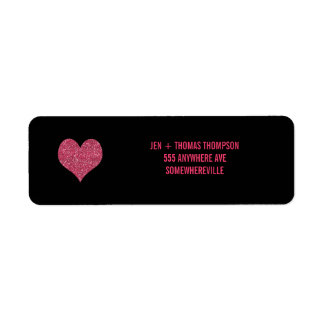 Black & Pink Glitter Return Address Wedding Labels Return Address Label