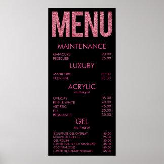 Black & Pink Glitter Salon Menu Wall Poster