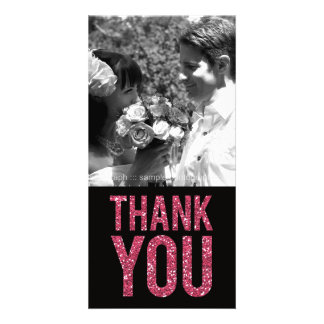 Black & Pink Glitter Thank You Photo Cards