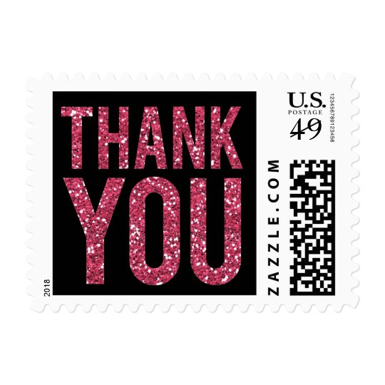 Black & Pink Glitter Thank You Postage Stamp