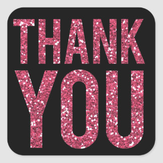 Black & Pink Glitter Thank You Wedding Sticker