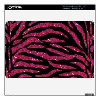 "Black & Pink Glitter Zebra Print Mac Air Skin 11"" MacBook Air Skins"