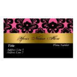 Black Pink Gold Damask Business Card