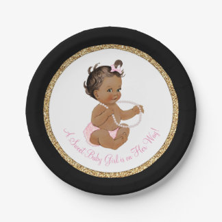 Black Pink Gold Pearl Ethnic Girl Baby Shower Paper Plate