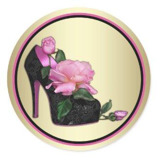 Black Pink Gold Rose Stickers
