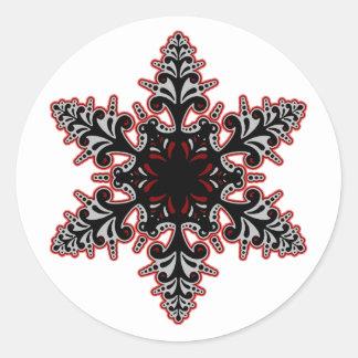 Black Pink Gothic Snowflake Classic Round Sticker