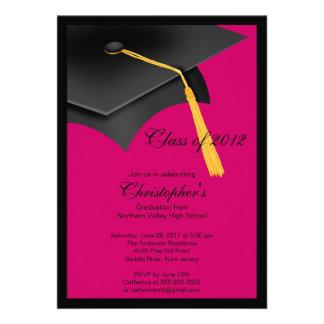 Black Pink Grad Cap Graduation Party Invitation