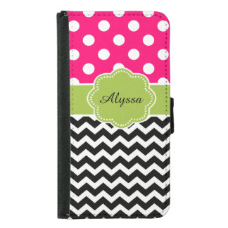 Black Pink Green Dots Chevron Personalized Wallet Phone Case For Samsung Galaxy S5