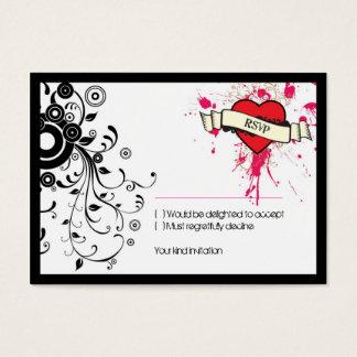 Black & Pink Grungy Heart Music Themed Wedding Business Card
