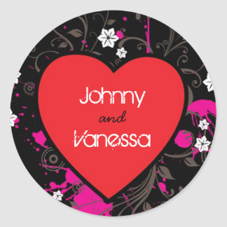 Black & Pink Grungy Heart Music Themed Wedding Classic Round Sticker