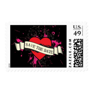 Black & Pink Grungy Heart Music Themed Wedding Postage