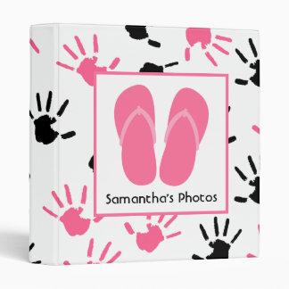 Black & Pink Handprints With Pink Flip Flops 3 Ring Binder
