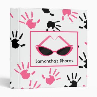 Black & Pink Handprints With Retro Pink Sunglasses Binder