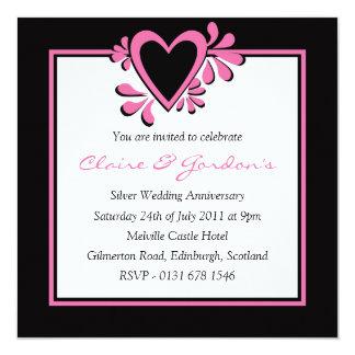 Black & Pink Heart Anniversary Party Invitation