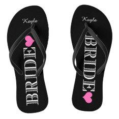 Black/Pink Heart Bride's Flip Flops at Zazzle