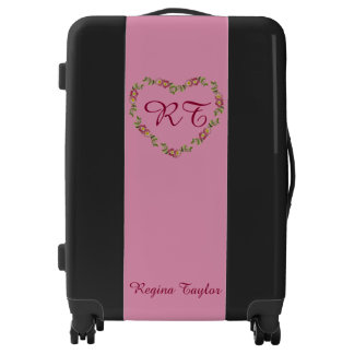 Black & pink heart wreath monogram luggage trolley