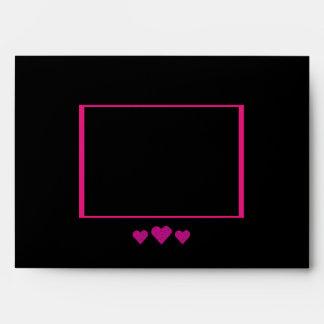 Black & Pink Hearts Design Custom Wedding Envelopes