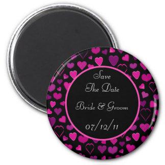 Black & Pink Hearts Design Save The Date Wedding Fridge Magnet