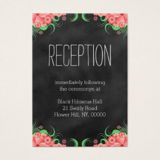 Black Pink Hibiscus Floral Wedding Enclosure Cards