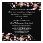 "Black Pink Japanese Cherry Blossoms Wedding 5.25"" Square Invitation Card"
