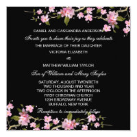 Black Pink Japanese Cherry Blossoms Wedding Invitation