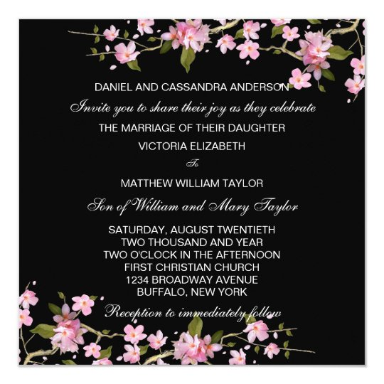 Black Pink Japanese Cherry Blossoms Wedding Invitation Zazzle Com