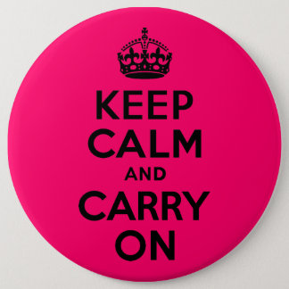 Black Pink Keep Calm and Carry On Button