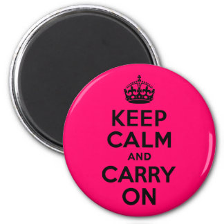 Black Pink Keep Calm and Carry On 2 Inch Round Magnet