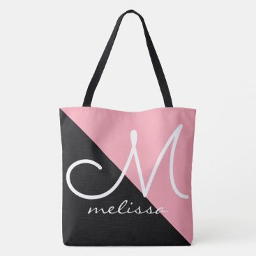 black / pink large tote bag with name