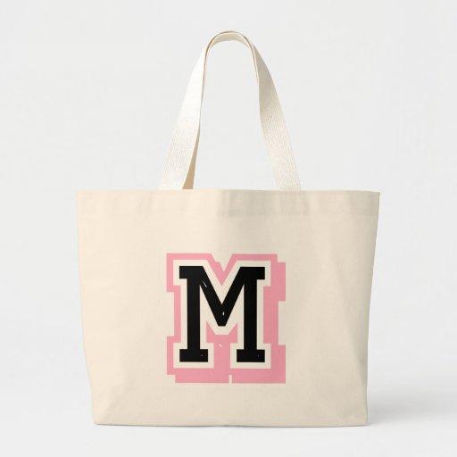 black pink letter N Canvas Bags