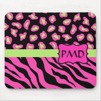 Black, Pink & Lime Green Zebra & Cheetah Skins Mouse Pad