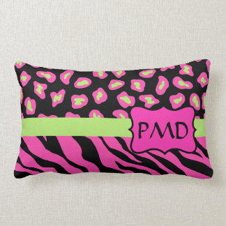 Black, Pink & Lime Green Zebra & Cheetah Skins Throw Pillow