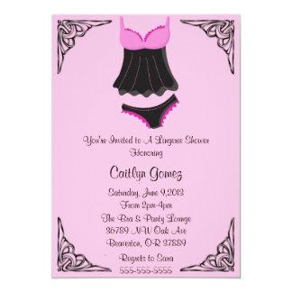 Black & Pink Lingerie Bridal  Shower Invitation