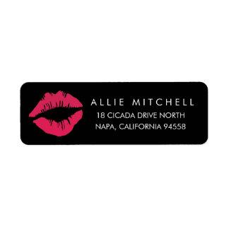 Black & Pink Lips Return Address Label