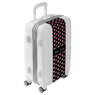 Black Pink Love Hearts Luggage