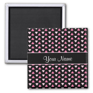 Black Pink Love Hearts Magnet