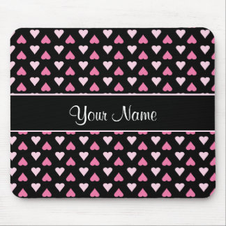 Black Pink Love Hearts Mouse Pad