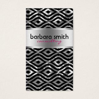 Black Pink & Metallic Silver Geometric Pattern Business Card