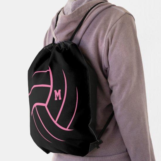 black pink minimalism volleyball monogrammed drawstring bag