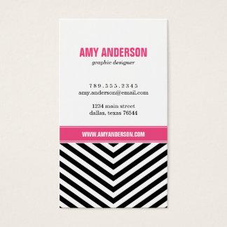 Black & Pink Modern Chevron Stripes Business Card